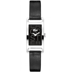 "Montre dame ""Lacoste"" - 20 % rectangle Fond noir /cuir noir"