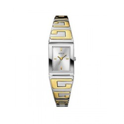 "Montre femme ""GUESS"" -40% rectangle acier bicolore"