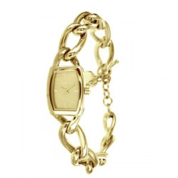 "Montre femme ""DKNY"" Donna Karan New York -30% acier doré rectangle bracelet maillons souple fermoir barrette"