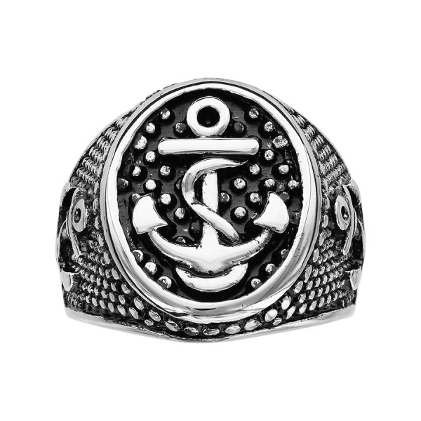 bague homme ancre marine