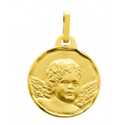 Médaille ange ronde or jaune 9 carats/375‰